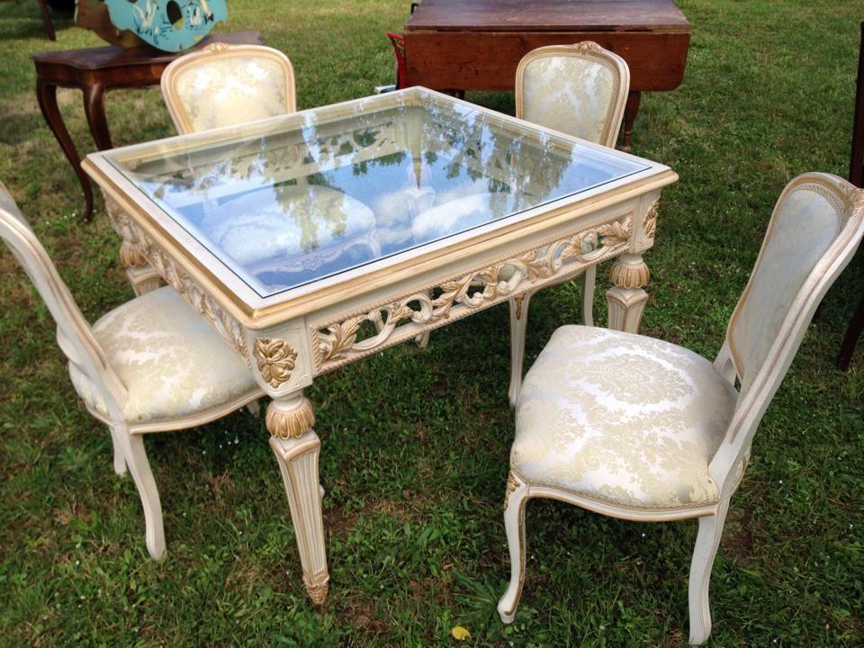 Tavolo 4 sedie stile barocco decorato con foglia d 39 oro seta piano in cristallo gugumed - Sedie per tavolo cristallo ...